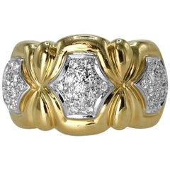 Diamond and Two-Tone Gold Band Ring
