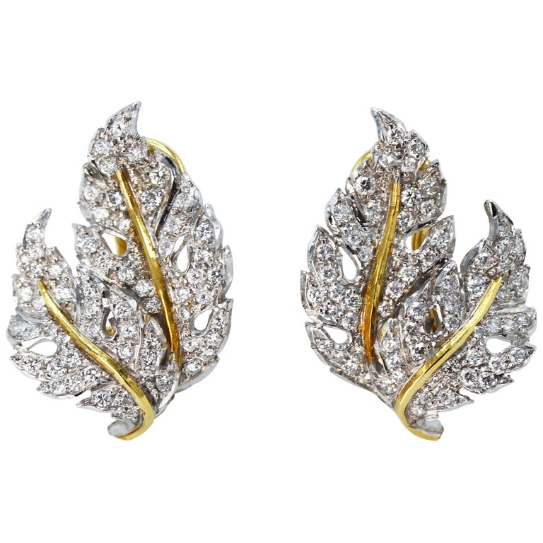 Buccellati Diamond and Two-Tone Gold Leaf Earclips
