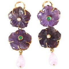 Amethyst Earrings Diamond Emerald Gold