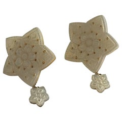 Mother-of-Pearl Stars Gold Earrings