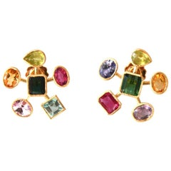 Gold Earrings Tourmaline Citrine Aquamarine Tanzanite Peridot