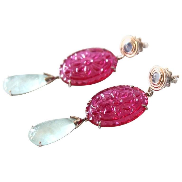 Ruby Aquamarine Earrings White Gold