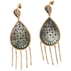 Gold Mother-of-Pearl Flower Dangle Drop Earrings