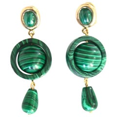 Malachite Gold Earrings