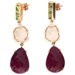 Princess Cut Ruby Quartz Peridot Gold Dangle Drop Earrings