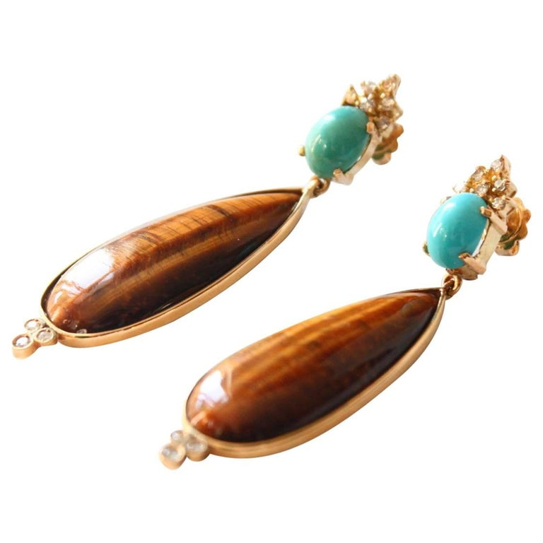 Turquoise Diamond Tiger's Eye Gold Drop Earrings