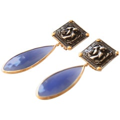 Antiques Deco Silver Plaques Agate Gold Earrings
