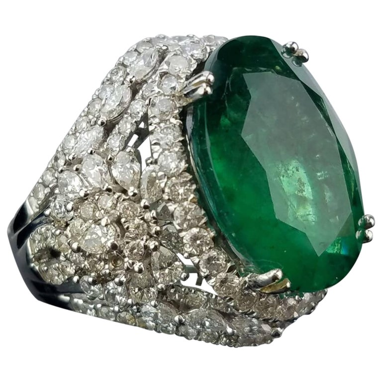 15.79 carat Oval Shape Emerald and Diamond Cocktail Ring