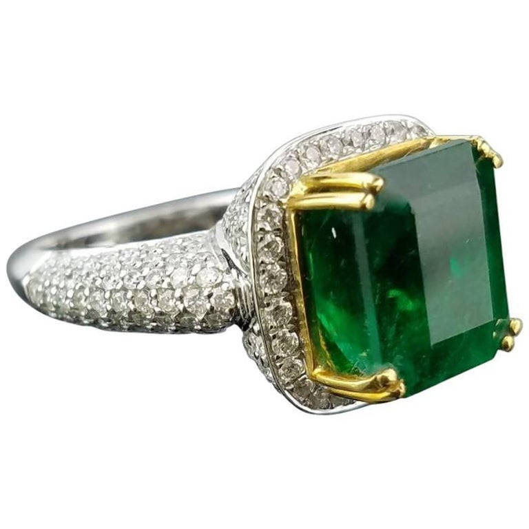 6.24 Emerald and White Diamond Cocktail Ring
