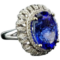 10.78 Carat Oval Tanzanite and White Diamond Cocktail Ring