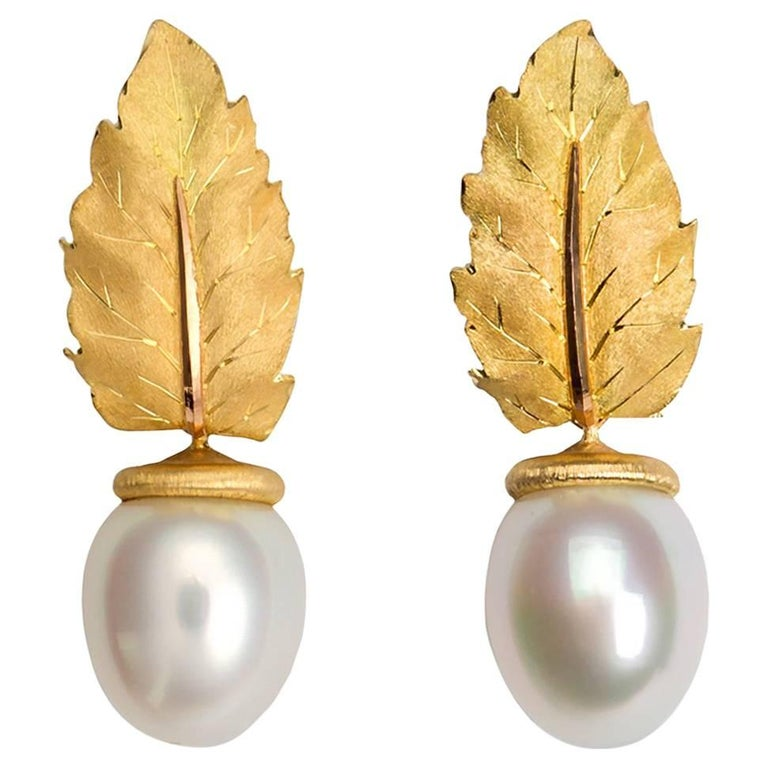 Buccellati Gold Leaf and South Sea Pearl Earrings