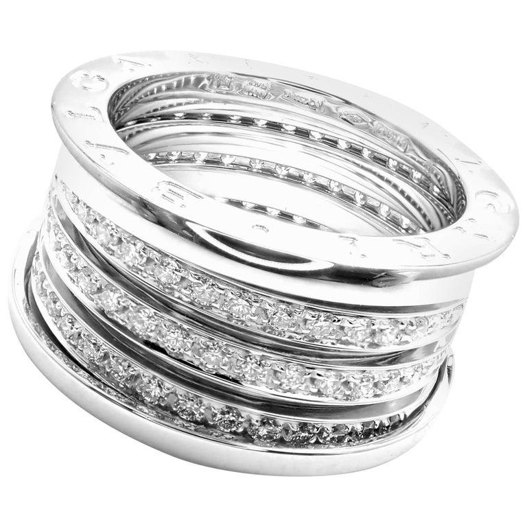 Bulgari B-Zero Pave Diamond Four Band White Gold Ring
