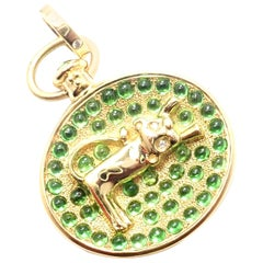 Temple St Clair Diamond Tsavorite Garnet Terrae Lion Yellow Gold Pendant