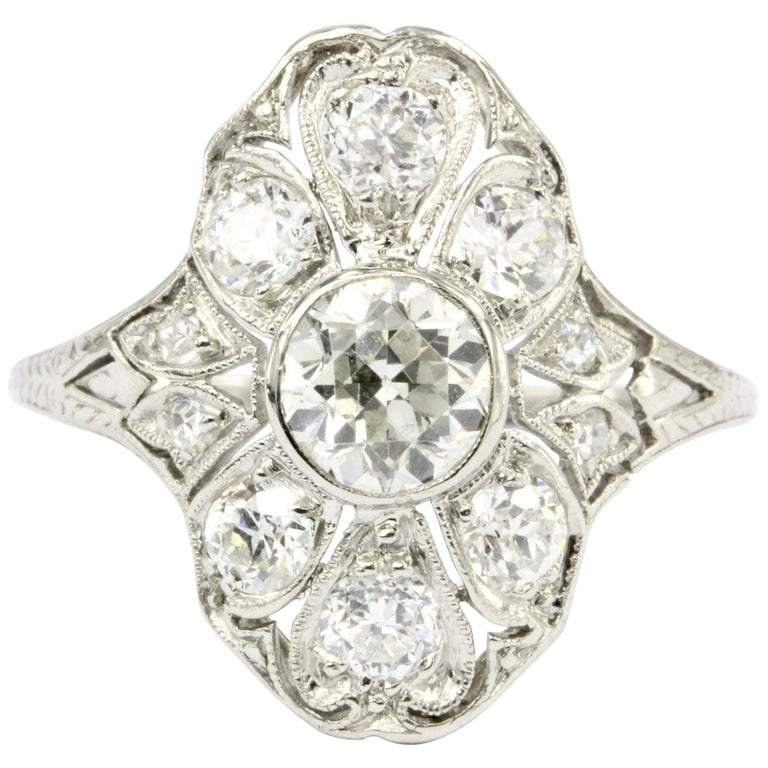 Art Deco Platinum Old European Diamond Shield Ring