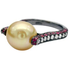 Modernist Golden South Sea Pearl Ruby and Diamond Ring
