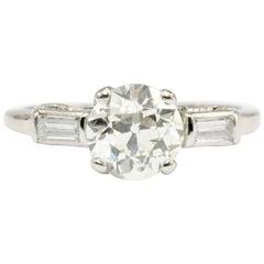 Art Deco Platinum 1.27 Carat Old European Cut Diamond Engagement Ring