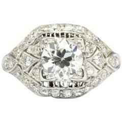 Art Deco Platinum Old European Cut Filigree Engagement Ring, circa 1920s