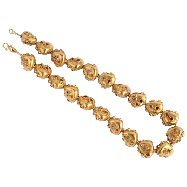 Gold Bead Necklace with Gemstones