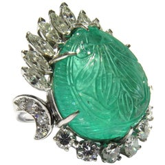 Magnificent Large Carved Emerald Diamond Platinum Ring