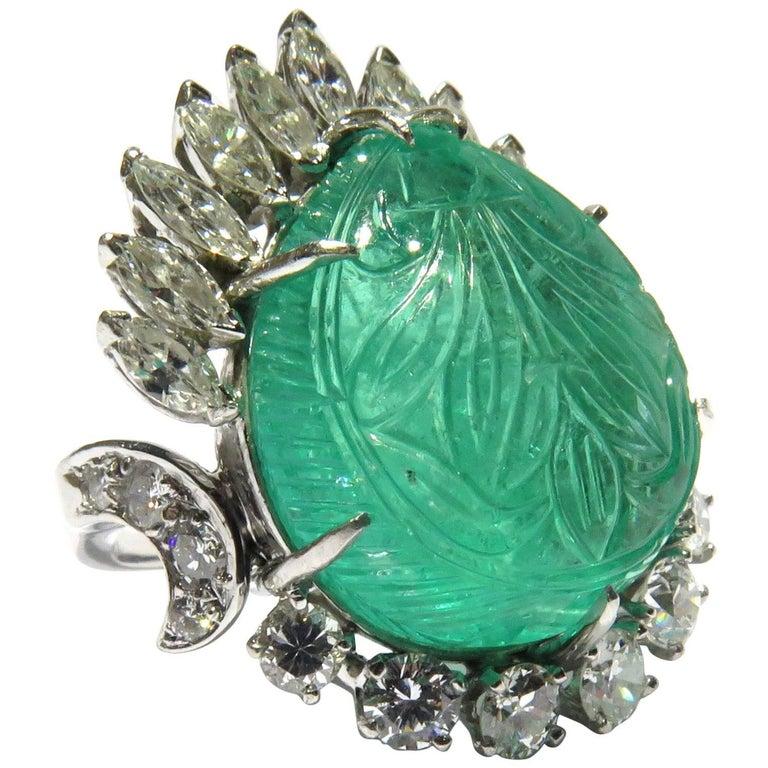 Magnificent Large Carved Emerald Diamond Platinum Ring