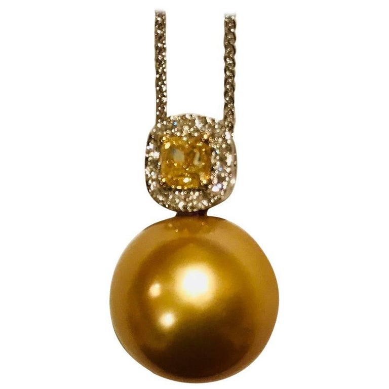 Golden South Sea Pendant with Yellow and White Diamonds For Sale