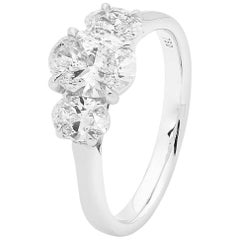 18 Carat White Gold 1.22 Carat Oval Diamond 'Trilogy' Engagement Ring