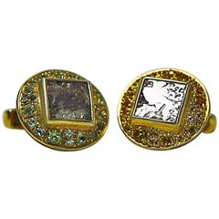 Antique Coins Peridots Citrines Silver Indian Cufflinks