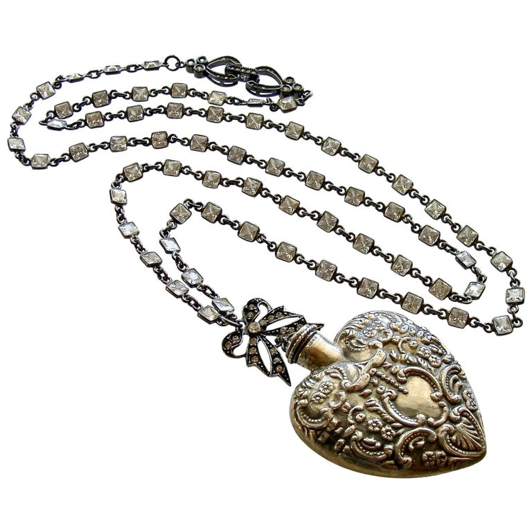 Sterling Silver Repousse Chatelaine Heart Scent Bottle Necklace For Sale