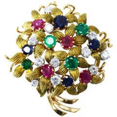 Sapphire, Emerald, Ruby and Diamond Bouquet Brooch