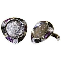Antique Coins Diamonds Rubies Citrines Silver Netherlands Cufflinks