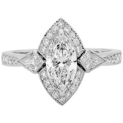 GIA Certified 1.02ct Marquise Diamond Art Deco Style Platinum Engagement Ring