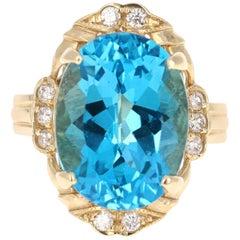 12.54 Carat Blue Topaz and Diamond Ring
