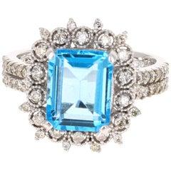 Blue Topaz Diamond White Gold Ring