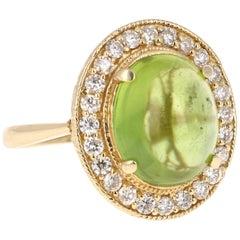 7.81 Carat Peridot Diamond Ring Cabochon Cut