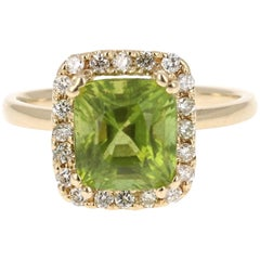 3.73 Carat Peridot Diamond 14 Karat Yellow Gold Cocktail Ring