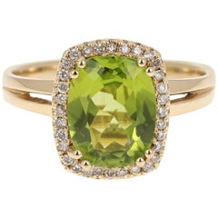 2.80 Carat Peridot Diamond Ring