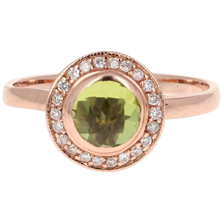 Peridot Diamond Ring Rose Gold