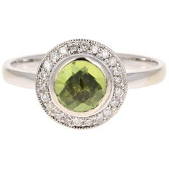 Peridot Diamond Ring White Gold