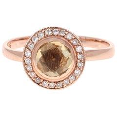 0.91 Carat Citrine Diamond Rose Gold Ring