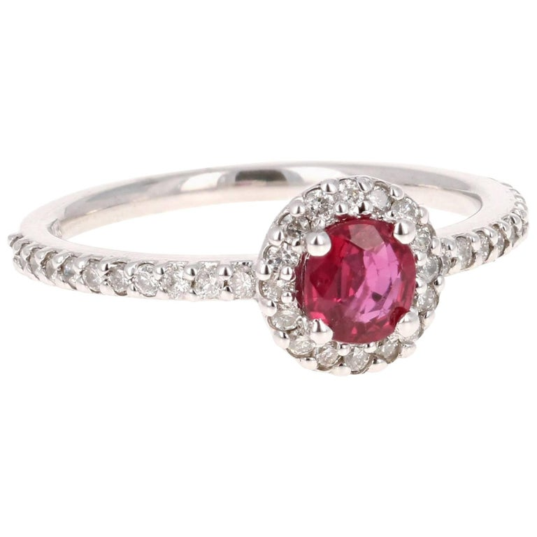 0.97 Carat Ruby Diamond Ring White Gold For Sale