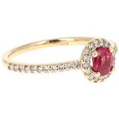 0.98 Carat Ruby Diamond Ring Yellow Gold