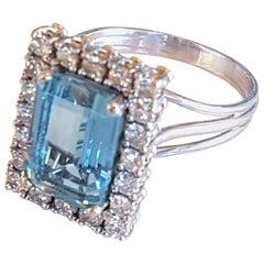 Aquamarine and Diamond Ladies Cocktail Ring