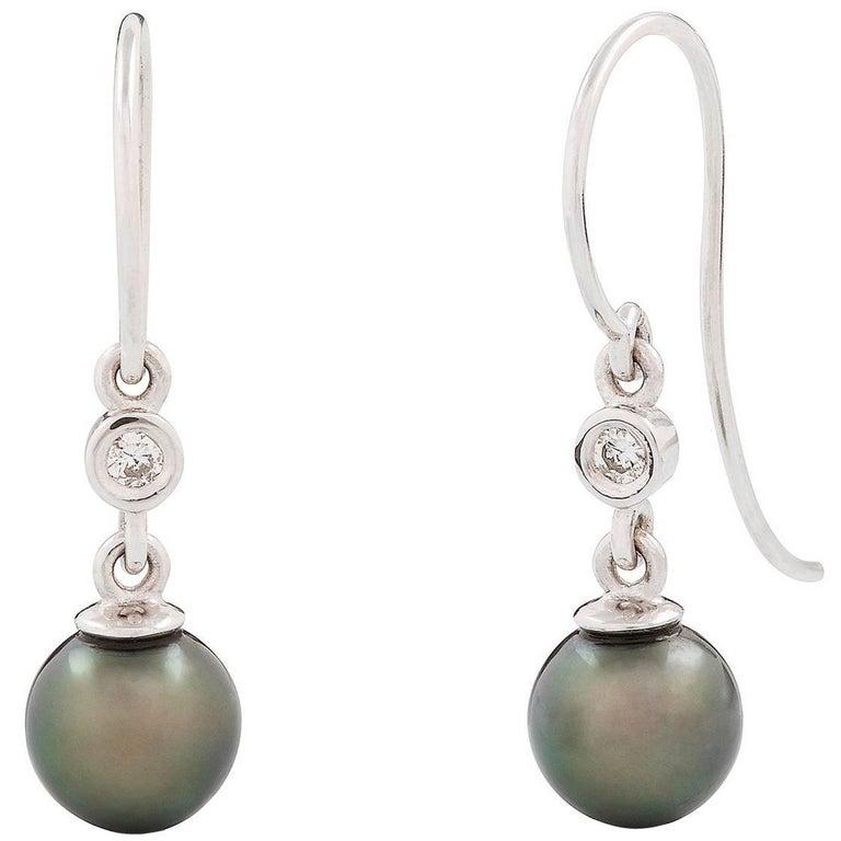 Kian Design  White Gold Tahitian Pearl and Diamond Earrings