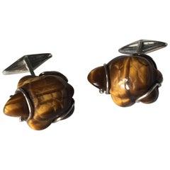 Turtle Cufflinks Silver Tiger's Eye