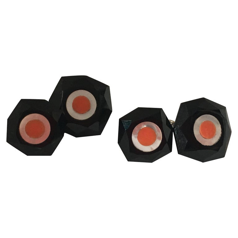 Cufflinks Onyx Coral Mother-of-Pearl