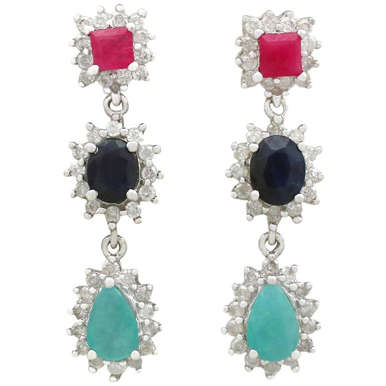 1990s Ruby, Sapphire, Emerald and Diamond, 18K White Gold Drop Earrings