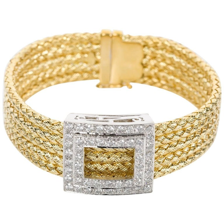 Italian 18k Yellow Gold and Diamond Five Strand Woven Bracelet