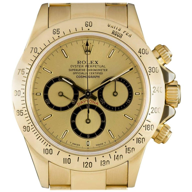 Rolex Zenith Movement Cosmograph Daytona Gold Champagne Dial 16528