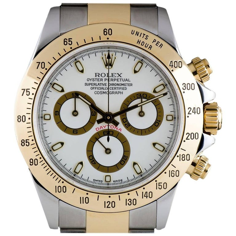 Rolex Cosmograph Daytona Steel & Gold White Dial 116523 Automatic Wristwatch