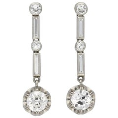 Art Deco Diamond Drop Earrings, circa 1930